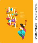 happy diwali. indian festival... | Shutterstock .eps vector #1496126048