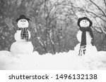 Greeting Snowman. Happy Smilin...