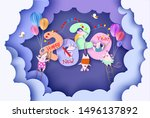 2020 new year design card with...   Shutterstock .eps vector #1496137892