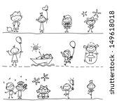 hand drawing cartoon happy kids ... | Shutterstock .eps vector #149618018