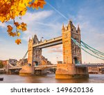 tower bridge with autumn leaves ...