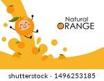 natural orange juice splash... | Shutterstock .eps vector #1496253185