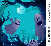 ghosts spirit.  autumn tree... | Shutterstock .eps vector #1496276498