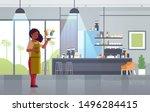 waitress holding serving tray... | Shutterstock .eps vector #1496284415
