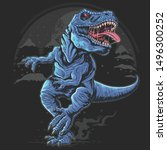 t rex dinosaurs rage angry...   Shutterstock .eps vector #1496300252