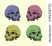 hand draw skull with color....   Shutterstock .eps vector #1496328722
