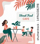 Stock vector people visitors sitting in modern summer time street food city cafe man and woman dating on 1496338298