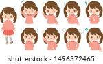 set of adorable girl facial... | Shutterstock .eps vector #1496372465