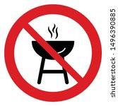 no barbecue vector. not allow  ... | Shutterstock .eps vector #1496390885