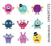 cute monster cartoon design... | Shutterstock .eps vector #1496397272