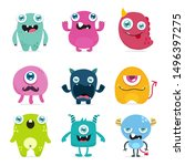 Stock vector cute monster cartoon design collection design for logo and print product vector 1496397275