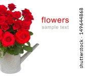 bouquet of fresh scarlet roses... | Shutterstock . vector #149644868