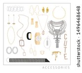 collection of trendy jewelry...   Shutterstock .eps vector #1496468648