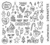 holly jolly christmas outline...   Shutterstock .eps vector #1496469755