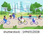 people on bicycles flat vector... | Shutterstock .eps vector #1496512028