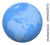 lebanon on the globe. earth... | Shutterstock .eps vector #1496523572
