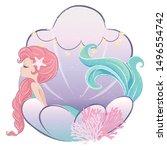 Little Cute Mermaid In Seashel...