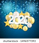 2020 new year and merry... | Shutterstock . vector #1496577392