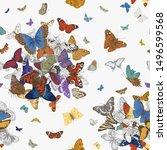 butterflies. seamless pattern.... | Shutterstock .eps vector #1496599568