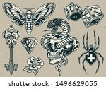 vintage tattoos set with... | Shutterstock .eps vector #1496629055