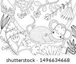 cute monkey sleeping on a vine...   Shutterstock .eps vector #1496634668