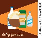 milk  sour  kefir  cottage ... | Shutterstock .eps vector #1496703008