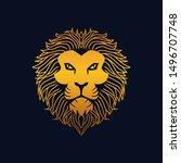 king lion head gold  lion... | Shutterstock .eps vector #1496707748