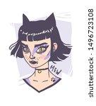 hand drawn portrait stylish cat ... | Shutterstock .eps vector #1496723108