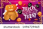 trick or treat  purple greeting ... | Shutterstock .eps vector #1496729465