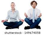 business executives meditating... | Shutterstock . vector #149674058