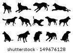 Stock vector a set of pet dog silhouettes including the dog playing jumping and walking 149676128