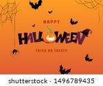 happy halloween hand lettering... | Shutterstock .eps vector #1496789435