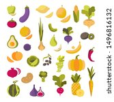 vector set of fruits and... | Shutterstock .eps vector #1496816132