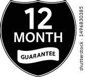 black 12 months warranty shield ... | Shutterstock .eps vector #1496830385
