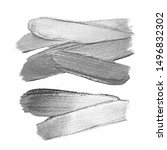 silver paint brush stroke on... | Shutterstock .eps vector #1496832302