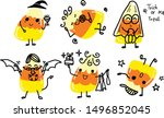 cute candy corn with  hand draw ... | Shutterstock .eps vector #1496852045