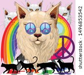'imagine' cat rainbow peace and ... | Shutterstock .eps vector #1496853542