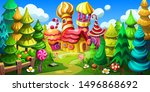 candy town in a fairy forest.... | Shutterstock .eps vector #1496868692