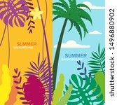 set of summer backgrounds... | Shutterstock .eps vector #1496880902
