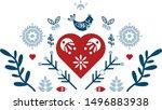 Folk Art Vector Ornament With...