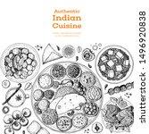indian food illustration. hand... | Shutterstock .eps vector #1496920838