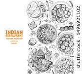 indian food illustration. hand... | Shutterstock .eps vector #1496921102