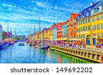 A Digital Painting Of Nyhavn I...