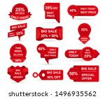 set of red paper sale stickers. ... | Shutterstock .eps vector #1496935562