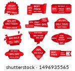 set of red paper sale stickers. ... | Shutterstock .eps vector #1496935565