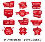 set of red paper sale stickers. ... | Shutterstock .eps vector #1496935568