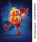 little devil with halloween... | Shutterstock .eps vector #1496978495