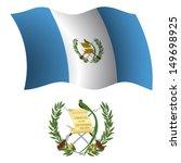 guatemala wavy flag and coat of ... | Shutterstock .eps vector #149698925