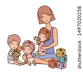 cute pregnancy mother with...   Shutterstock .eps vector #1497020258