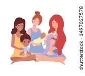 interracial pregnancy mothers... | Shutterstock .eps vector #1497027578